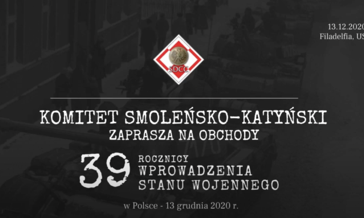 W dobie ograniczeń związanych z pandemią COVID-19 Komitet Smoleńsko – Katyński dbając o względy bezpieczeństwa postanowił zorganizować spotkanie online podparte programem słowno - muzycznym upamiętniające 39 rocznicę wprowadzenia Stanu Wojennego w Polsce.