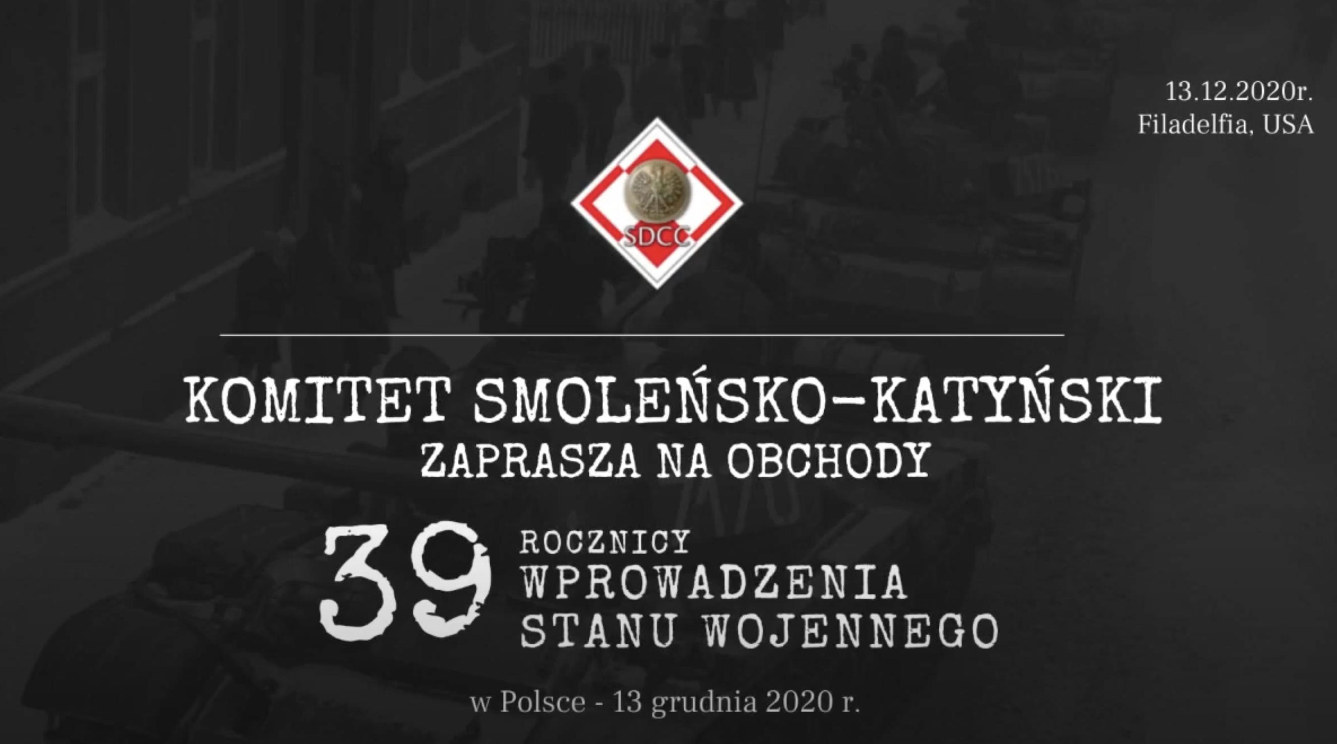 Uroczystości 39 rocznicy wprowadzenia Stanu Wojennego w Polsce.